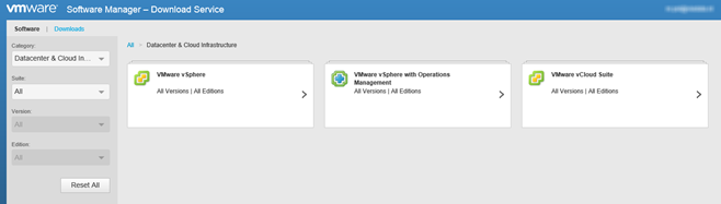 Downloading VMware software with the VMware Software Manager ...